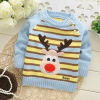 2014 autumn children cotton brand new t shirt girl longsleeve sweater kid cute reindeer top knit appliques clothing 3pcs/lot