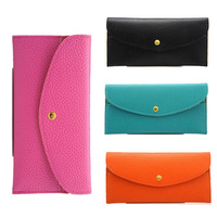BWF081 2014 New Women Handbags Candy Color Long Leather Wallets Women Clutches Free Shipping Women Card Wallets