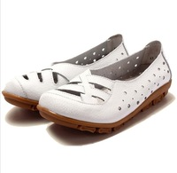 Hot women genuine leather shoes bow flat causal ballet flats woman shoes flexible outdoor loafer slip-on boat shoes