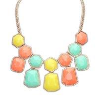Resin Geometric Gem Drop Tassels Collar Choker Bib Statement Necklaces & Pendants New 2014 Fashion Jewelry Women Wholesale N169