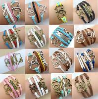 Sunshine jewelry store Womens Bracelets Fashion Vintage Heart Rudder Rectangle Leather Bracelet Multilayer Bracelets