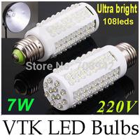 2014 NEW High Brightness 360 degree E27 7W LED lamps 108LED Corn LED Bulbs 220V warm/cold white 10pcs Freeshipping