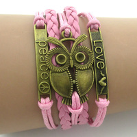 Peace&love&owl bracelet,2014 summer new charm bracelet in bronze,pink leather women jewelry for best friends,fashion brand