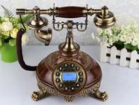 Fashion Archaize phone Wood Retro telephones Antique telephones Handsfree Blue backlight Landline Telephone Free Shipping
