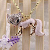 Fashion long bi design three-dimensional fox rhinestone inlaying necklace 140630