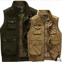 free shipping 2014 Brand New high quality  Multi-pocket men Vest Men's Outdoor Waistcoat men Fishing Vest Photography Jacket