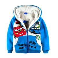 Children's clothing kids cartoon cars printed hoodies jackets and coats boys winter thickening fleece outerwear free shipping