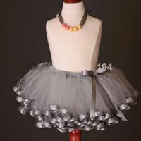 Free Shipping Retail Girls Fashion Skirt 2014 New Tutu Girl Skirt  With Satin Trim Ribbon 3 Layered Ribbon Sewn Skirts For Girls