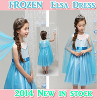 Wholesale 2014 NEW SUMMER FROZEN ELSA BLUE LACE VOILE Cloak   Kid DRESS For Adults Free Shipping In Stock