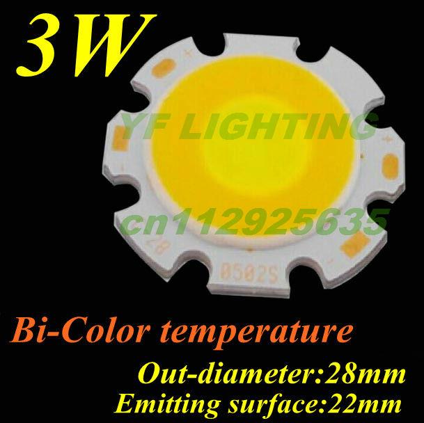 Bi-color COB light source pure white&warm white 3w high power led diode 28mm led lamp bulb(China (Mainland))