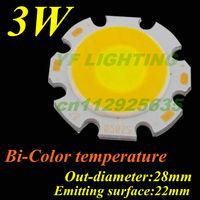 Bi-color COB light source pure white&warm white 3w high power led diode 28mm led lamp bulb