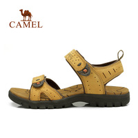 For camel outdoor sandals male first layer of cowhide velcro beach sandals casual sandals 82396600