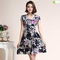M-4XL Sexy Elegant Women Floral Print Dress Casual Lady One Piece Dress, 2014 Summer Fashion Sundress XL XXL 3XL 4XL, HF5-6F