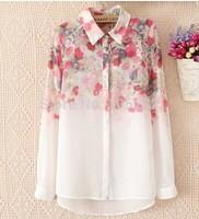 New 2014 Fashion Spring Summer Women's Turn-down Collar Long-sleeve Flower Print Chiffon Shirt Plus Casual Ladies Blouses Shirts