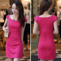 Free Shipping Solid Casual Sleeveless O-Neck Women Summer Dress S M L XL XXL