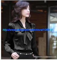 Women shirt vintage long sleeve chiffon blouse ladies Bow Puff korea plus size Black Retails Office Wear