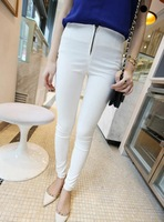 2014 New Arrival Sping Autumn Solid  Personalized Leggings For Women/ Girls Fashion Zip Elastic Leggings Pants  WF-4597