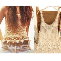 New Fashion 2014 Womens Sexy T-shirts Lace Blusas Crochet Hollow-out Vest Camisole Lace Cami Vest  Floral Lace Shirt Tank 2328
