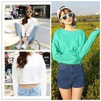 new 2014 spring summer women's High waist designal t shirt short tops 100% cotton sweatshirt loose t-shirt casual dresses