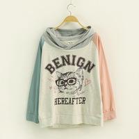2014 Autumn Korean Women Sweatshirts Letter Glasses Cat Print Raglan Sleeves Pullovers Hoodies Harajuku Moleton Feminino