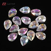 100pcs 17.5*24.5mm AB Clear Sew On Acrylic Diamante Flatback Rhinestone Crystal Gems