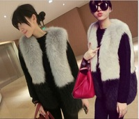 2014 Newest  Faux Fur Female Vest Outerwear Plus Size Women Fur Warm  O-neck Coat Jacket  Fur Outerwear S-2XL