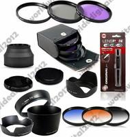 58MM FLD UV CPL lens Filter Kit   + Graduated grey blue filter Set + EW-60C + ET-60  Lens Hood Set for Canon EOS  EF 55-250mm