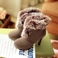 2014 new sweet lady high-heeled suede round frosted real rabbit Martin boots winter boots thick with big yards