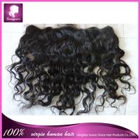 "Free shipping Virgin Brazilian Lace Frontal 13x4"" Bleached Knots Virgin Frontal Piece curly Full Lace Frontal Brazilian Wavy"