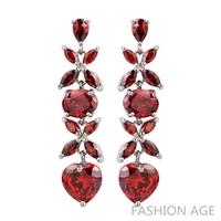 2014 New design Swiss Zircon Dangle Earrings Austrian Crystal women's Drop earrings AAA Quality Colorful long Earrings(FE-76)