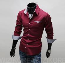 2015 New Arrival men's shirts Slim fit stylish Dress long Sleeve Shirts size M-XXXL(China (Mainland))