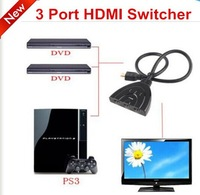High Quality! 3 Port 1080P 3D HDMI AUTO Switch Switcher Splitter Hub with Cable free shipping