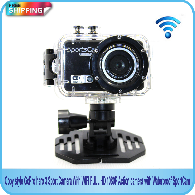 Free shipping!!Copy style GoPro hero 3 Sport Camera With WIFI FULL HD 1080P Action camera with Waterproof SportCam(China (Mainland))