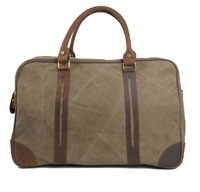 wholesale men canvas& genuine leather patchwork travel bags ,fashion vintage leisure bags 6827 free shipping