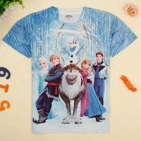 New!2014 frozen ElsaAnnaKristoffHansSvenOlaf 3d printed boys&girls t shirts.18M/6Y kids hot summer fashion top clothes