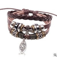 New 2014 High Quality 3pcs Vintage Womenand men cross alloy fish beaded bracelet brown Leather Bracelets & Bangles 2106