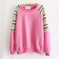 Women Hoody 2014 New Flocking Hoodies Knitted Sleeve Pathwork Sweatshirt Fashion O-neck Pullovers Autumn Casual Wear WE158