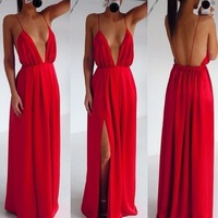 2014 News Sexy Clothing Wedding Elegant Red Spaghetti Strap V-neck Embroidery Pleated Backless Maxi Dress summer Party dress
