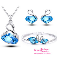 2014 New fashion High quality ocean blue Asutrian Crystal Swan pendant necklace earrings bracelets  for women jewelry sets,5168
