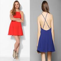 Wholesale New elegant club sexy party dresses women vestido chiffon 2015 summer vintage casual beach dress black blue