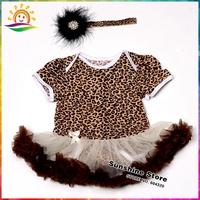 Leopard Girls Party Dresses Baby Headbands Set,Short Sleeve Leopard Infant Dresses,Feather Hair Accessories,#7A5417 3 set /lot