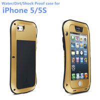 New Original LOVE MEI small waist Metal Extreme Aluminum phone cases Dirt Shock Waterproof Case for iPhone 5 5s + Gorilla Glass