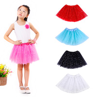 Free Shipping 2014 Summer Ballets Puff Skirt With Lace Tutu Age 2-8 With a Bow Tutu Pettiskirt Children Fluffy Girl,3 Color