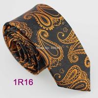 YIBEI Coachella ties Men's SKINNY Tie Black With Gold Paisley Necktie SLIM Tie Narrow fashion Tie to Men Wedding cravate