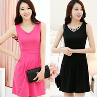 Elegant Korean Women V Neck Vest Dress Girl's Slim Waist Sleeveless Dress For Freeshipping