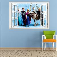 "2014 Fashion Children Room Wall Sticker, Cartoon PVC Wall Sticker ""Frozen"" Window Like Free Shipping 45*60cm"