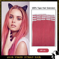 100% virgin remy human hair tape hair extension 16inch-24inch 20pc/bag color # Pink skin weft human hair extension mix order