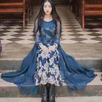 Lace o neck outer tassel smock & braces vest dresses suit 2014 fashion women vintage exquisite luxurious long maxi full dresses