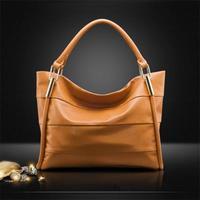 Hot!!! 2015 New Women Handbag Genuine Leather Bag Stripe Shoulder Bag Fashion Women Leather Handbag Casual Tote Vugue Bolsas