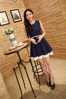 With Belt ! Chiffon Sleeveless Dress Women summer dress 2014 dress